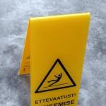 Plastik silt, komnurksilt, kollane silt, Hoiatussildid