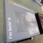 Infostend, plastikust infostend, McDrive stend, vahetava sisuga stend, McDonalds stend
