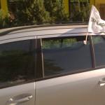 yrityslippu, logolippu, lippu auton ikkunaan, lippuneulos